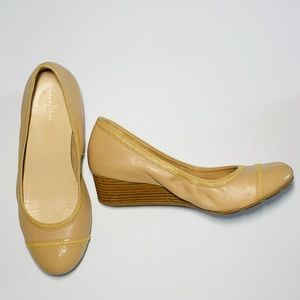 Cole Haan tan wedge with yellow stitching